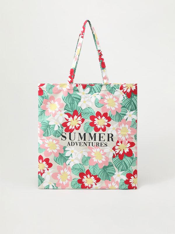 Bossa shopper amb estampat de flors