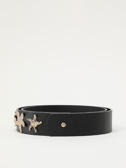 Faux leather star belt