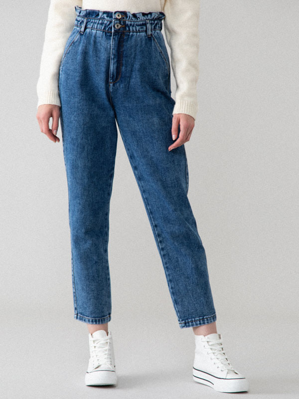 High-waist jeans with elastic