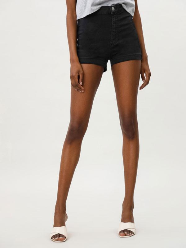 Pantalons curts texans bàsics high waist