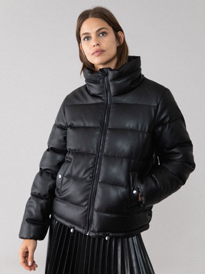 Faux leather quilted down jacket