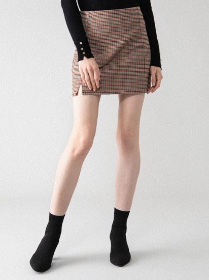 Short checked skirt