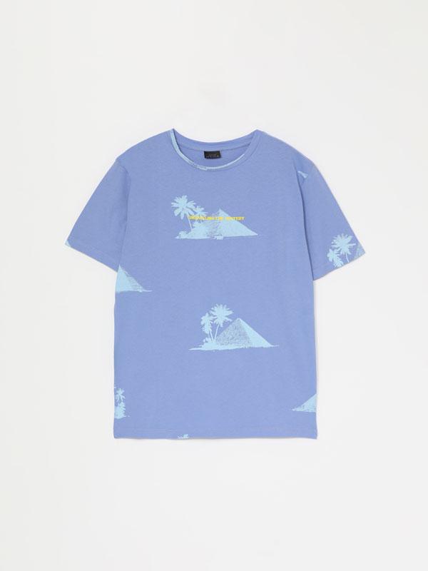 T-shirt de manga curta estampada