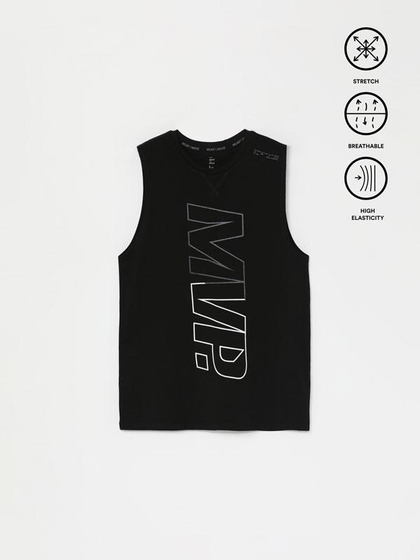 Printed sleeveless training top