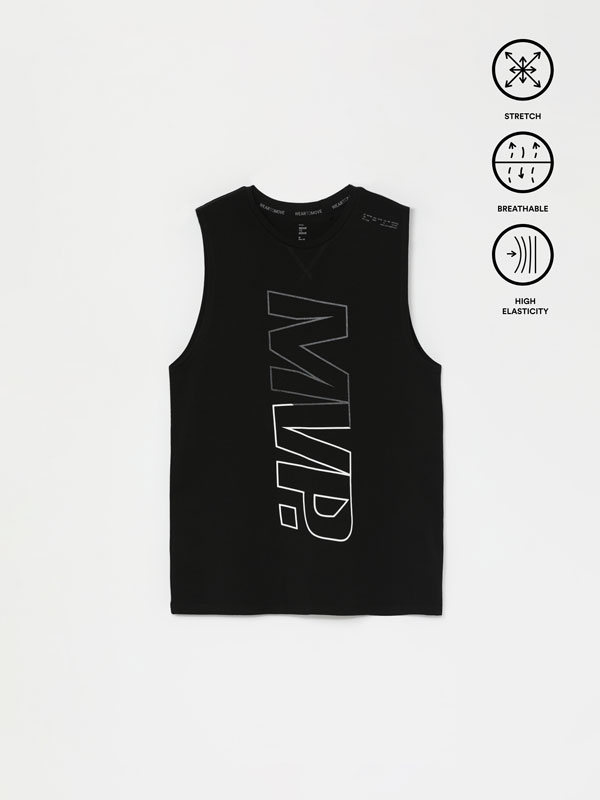 Printed sleeveless training top