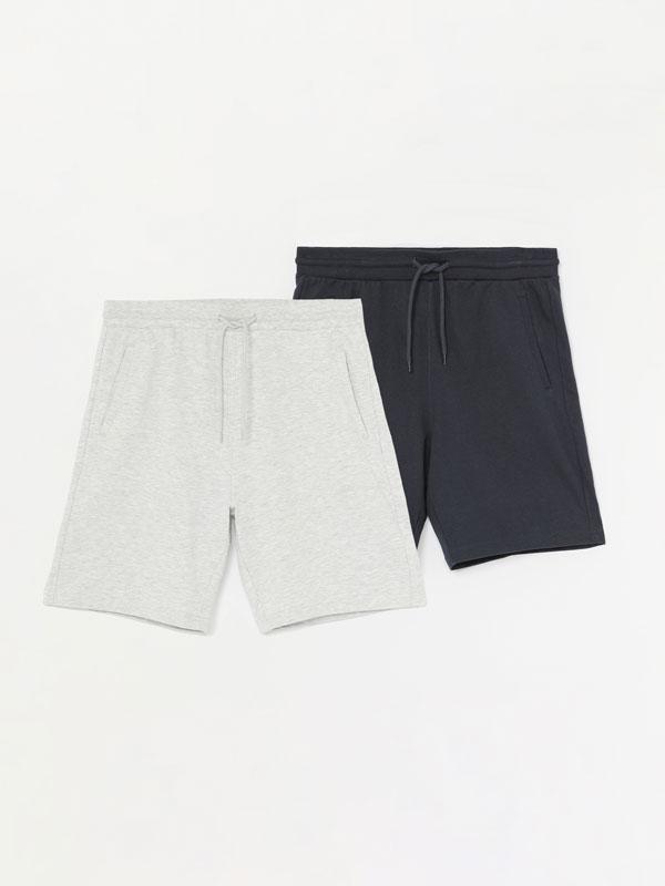 Pack of 2 pairs of basic jogging Bermuda shorts