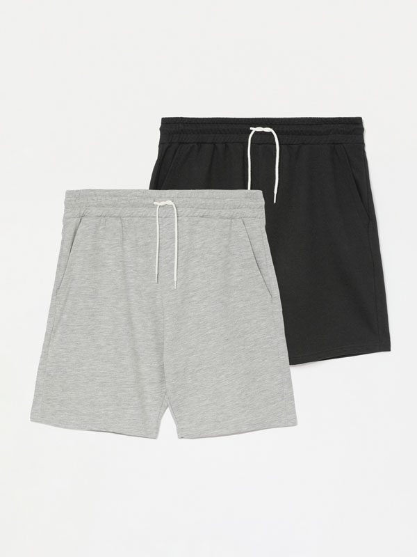 Pack de 2 calções bermudas jogging básicos