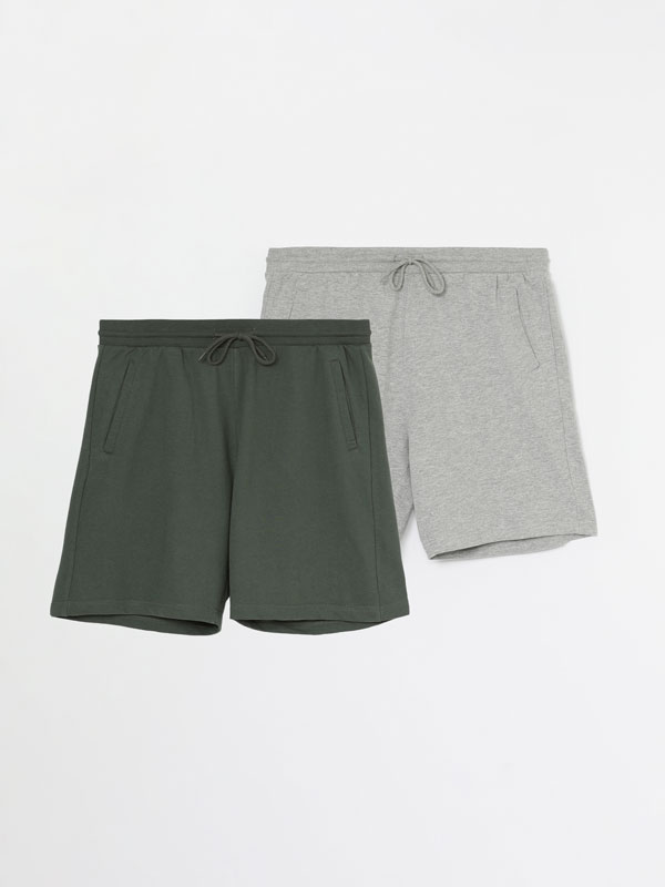 Pack of 2 pairs of basic jogging Bermuda shorts