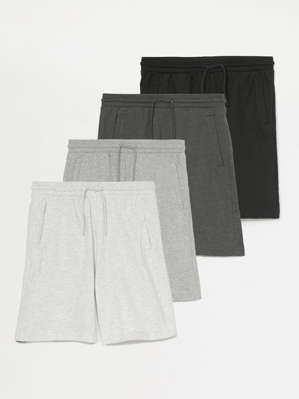 Pack of 4 pairs of basic jogging Bermuda shorts