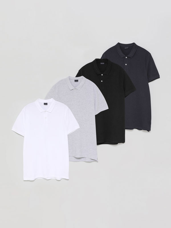 4-Pack of basic polo shirts