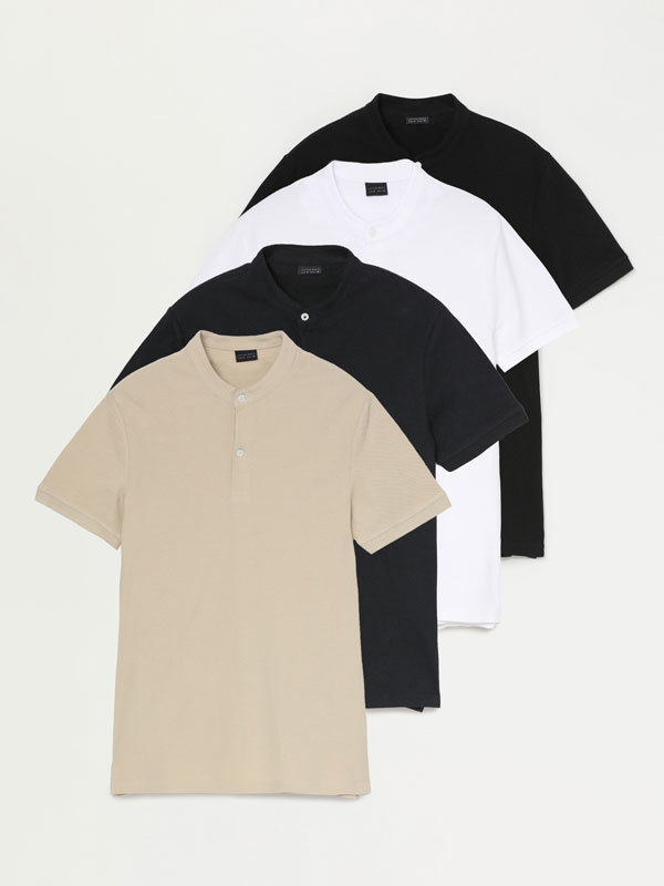 Pack of 4 stand-up collar polo shirts