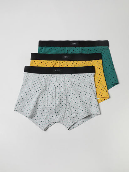 Pack of 3 pairs of polka dot print boxers