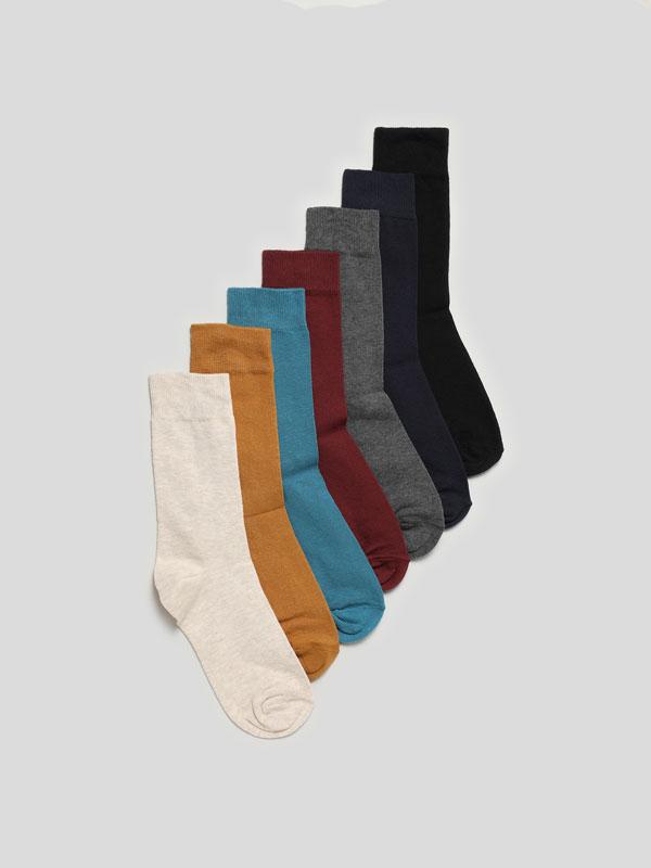Pack de 7 pares de meias compridas básicas
