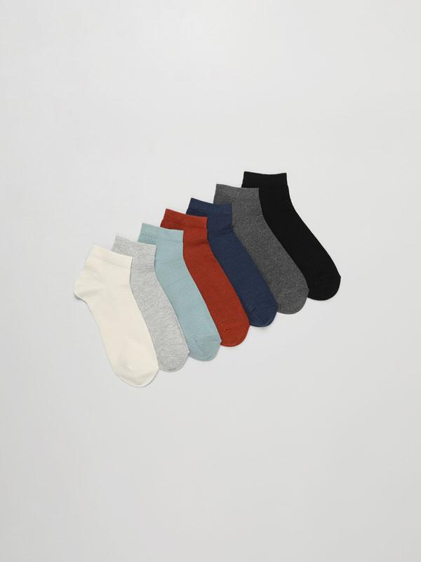 Pack de 7 pares de calcetines tobilleros básicos