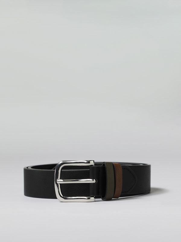 Faux leather belt with topstitching