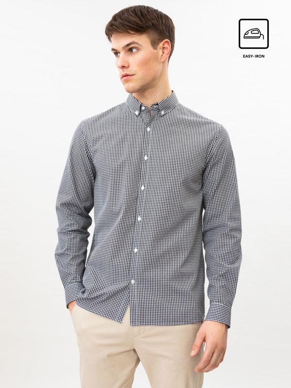 Camisa de quadrados fácil de engomar