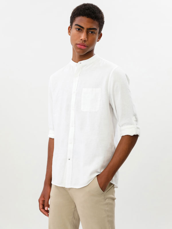 Linen-cotton shirt with Stand-up collar
