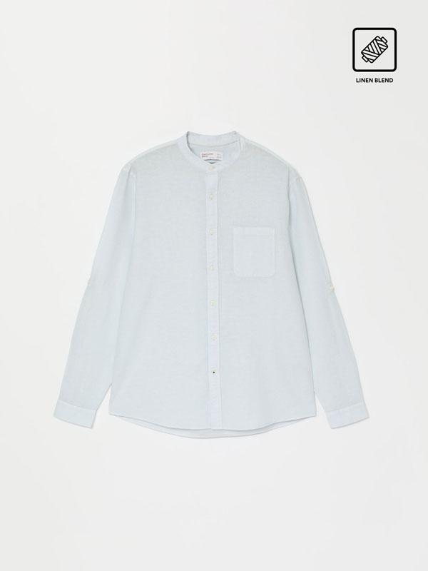 Camisa liño-algodón de colo mao