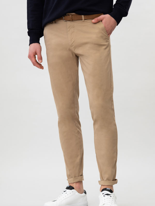 Micro print chino trousers with belt