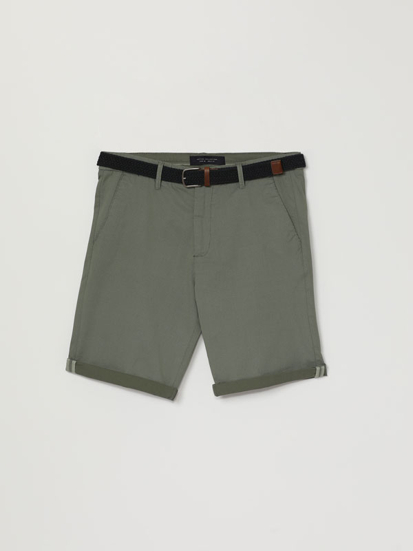 Micro print Chino Bermuda shorts with belt