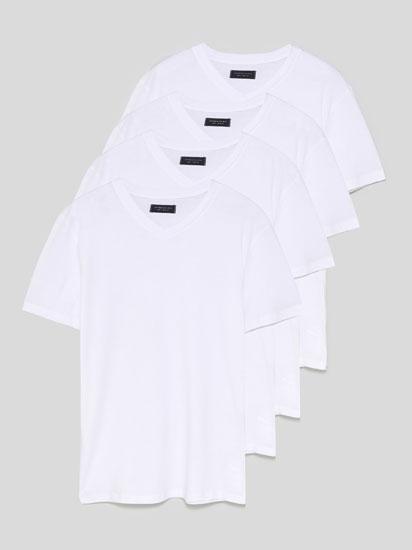Pack  de 4 samarretes bàsiques de coll en punta