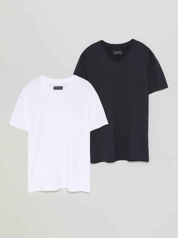 Pack de 2 camisetas básicas con colo pico