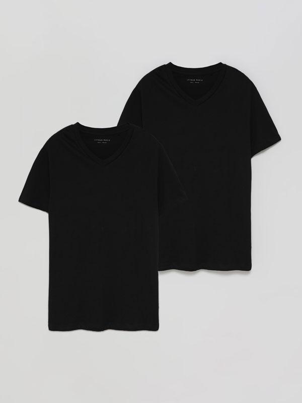 Pack de 2 samarretes bàsiques amb coll en punta