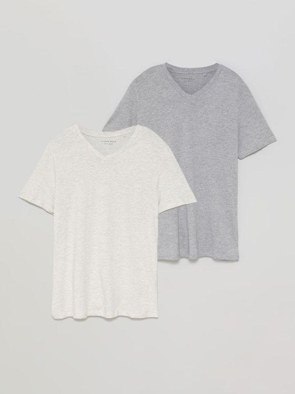 Pack de 2 t-shirts básicas com decote em bico