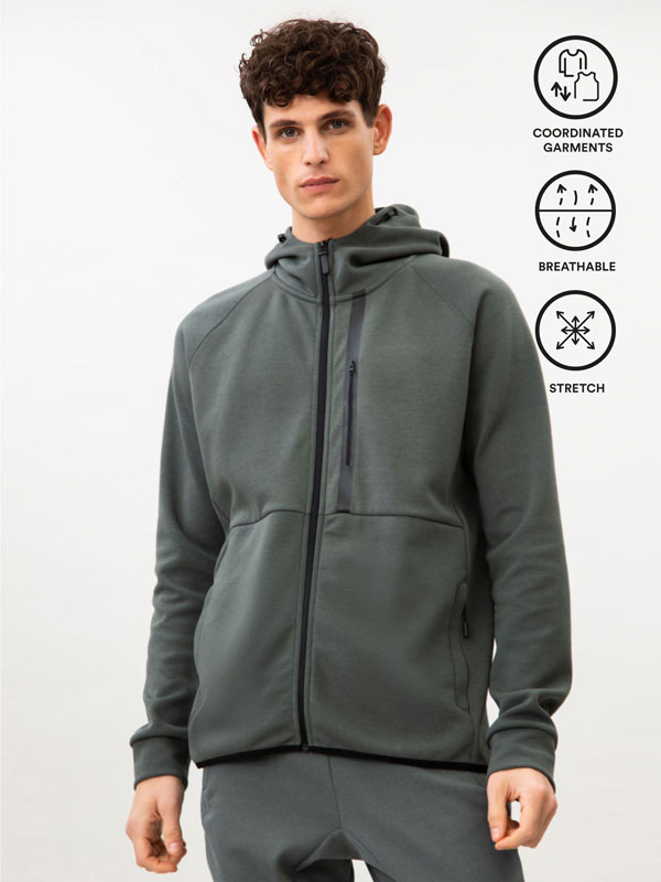 Hooded sports jacket