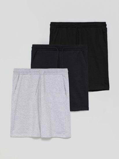 Pack of 3 pairs of basic jogging Bermuda shorts