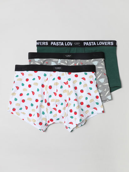 Pack of 3 pairs of boxer shorts with pasta print