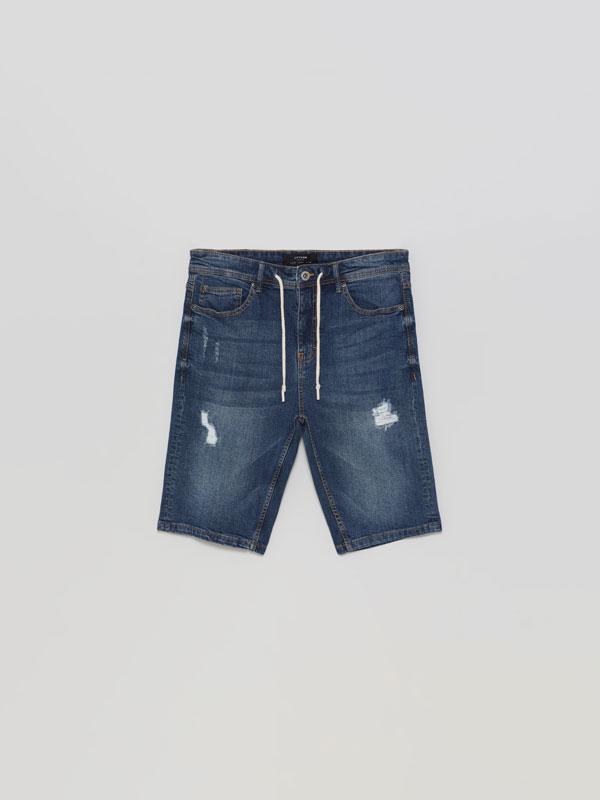 Skinny Stretchy Denim Bermuda Shorts