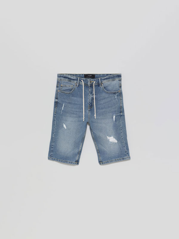 Skinny Stretchy Denim Bermuda Shorts