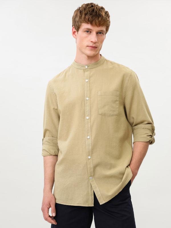 Camisa de linho – algodão com gola mao