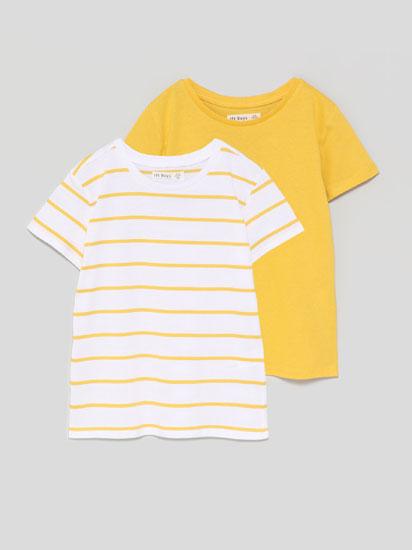 Paquet de 2 samarretes bàsiques llisa i estampada de ratlles de màniga curta