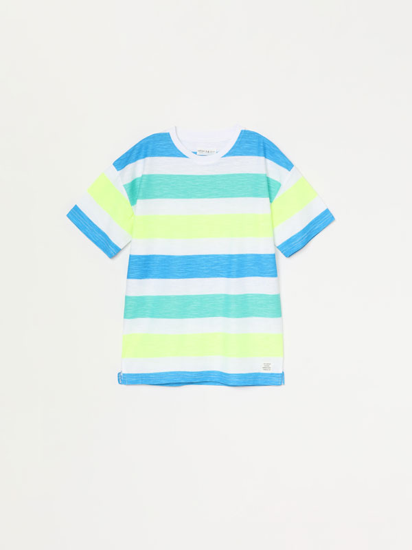 T-shirt de manga curta com estampado às riscas