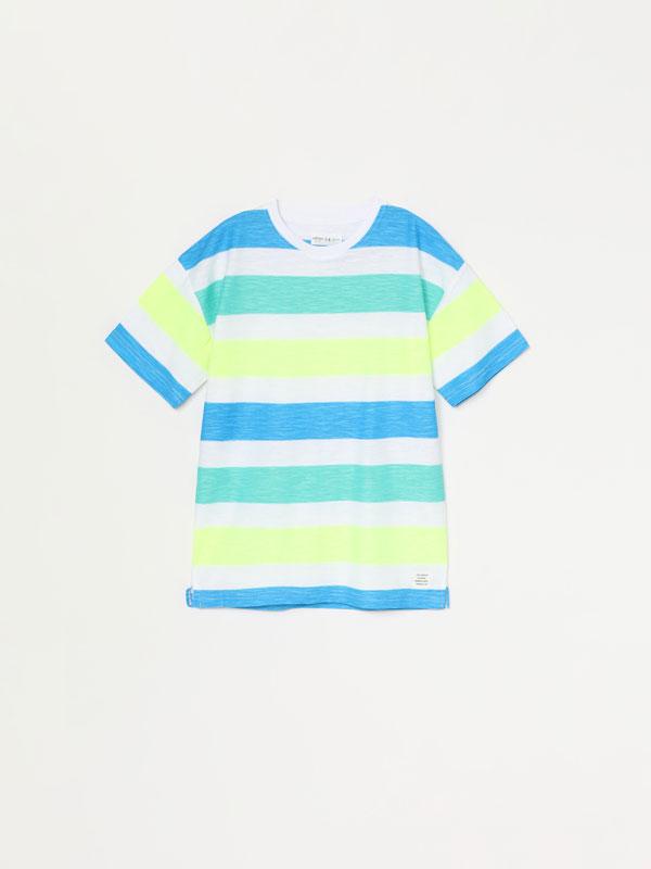 Stripe printed short sleeve T-shirt