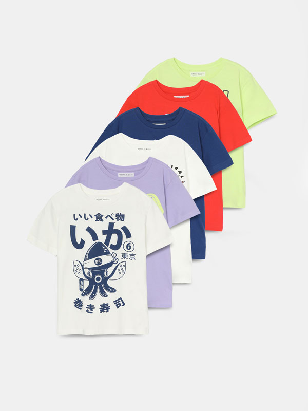 6-PACK OF PRINTED SHORT SLEEVE T-SHIRTS