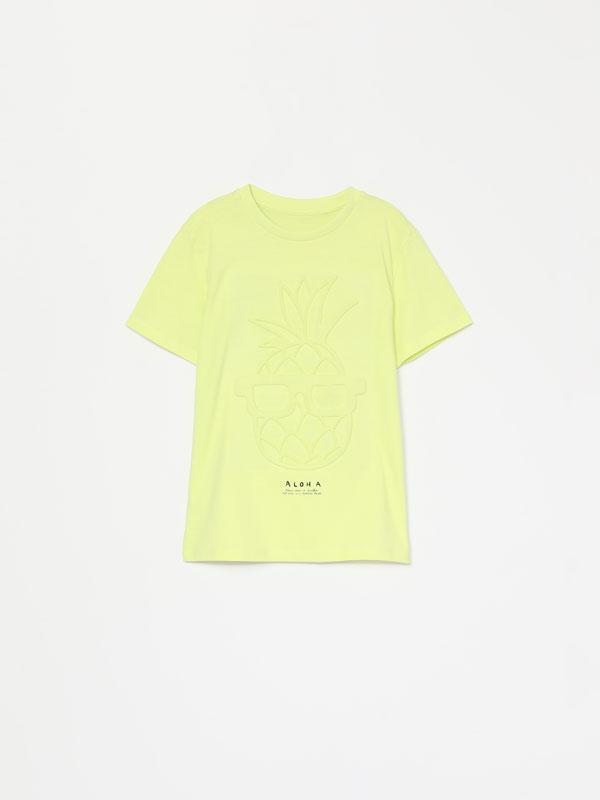T-shirt com estampado em efeito relevo