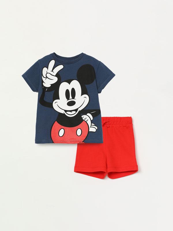 Conjunto de t-shirt e calções bermuda Mickey ©DISNEY