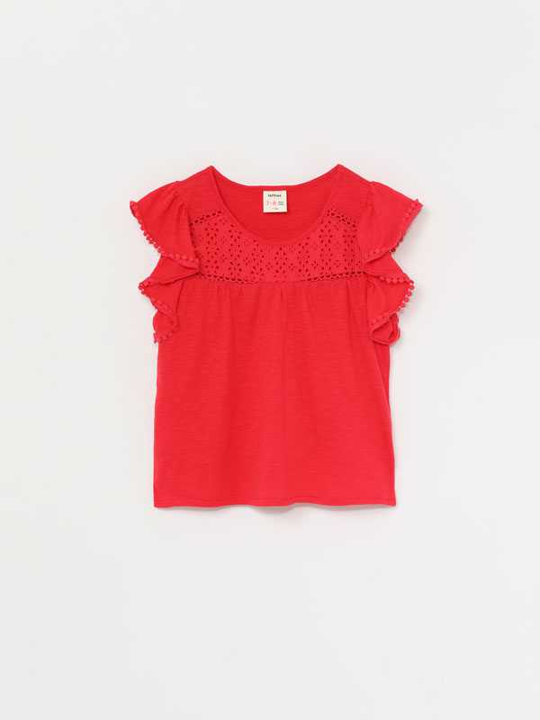 Swiss embroidery T-shirt