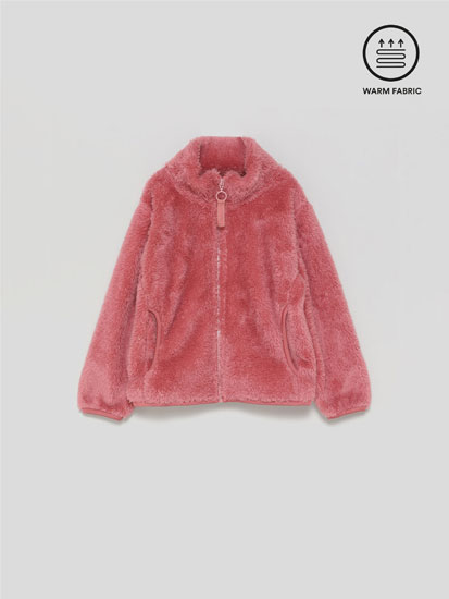 Faux fur fleece jacket