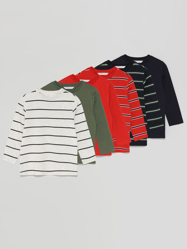 Pack of 6 basic plain and striped long sleeve T-shirts