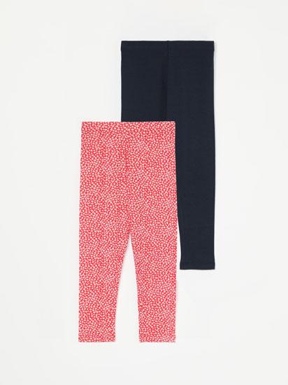 Pack de 2 leggings compridas básicas, uma lisa e outra estampada