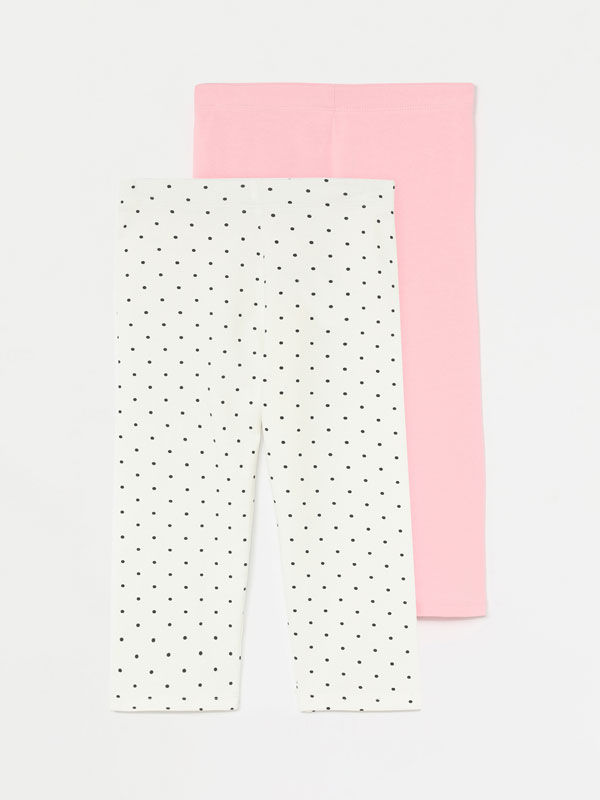 2-Pack of long short plain and printed leggings