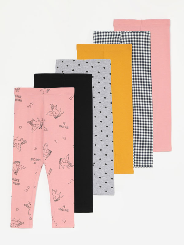 PACK DE 6 LEGGINGS COMPRIDAS LISAS E ESTAMPADAS