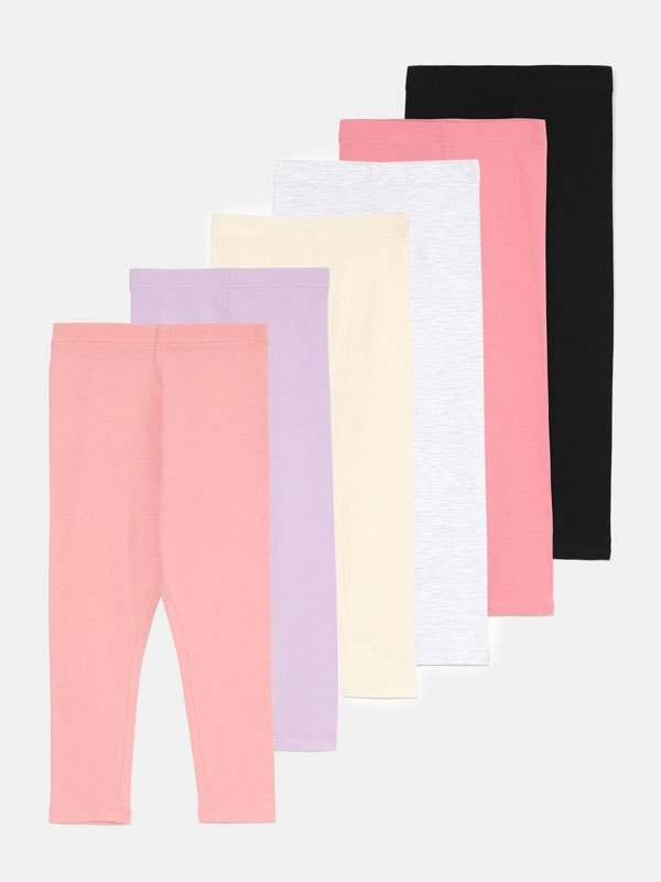 Pack de 6 leggings largos básicos