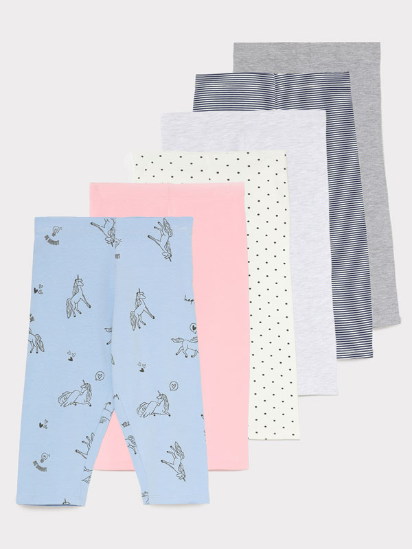 PACK DE 6 LEGGINGS PIRATA LISOS Y ESTAMPADOS