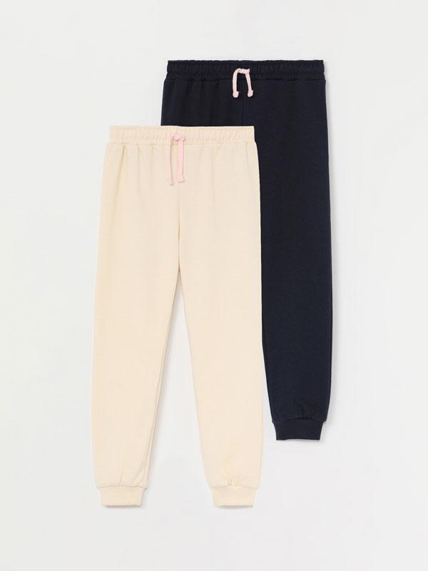 Pack de 2 pantalóns de felpa básicos