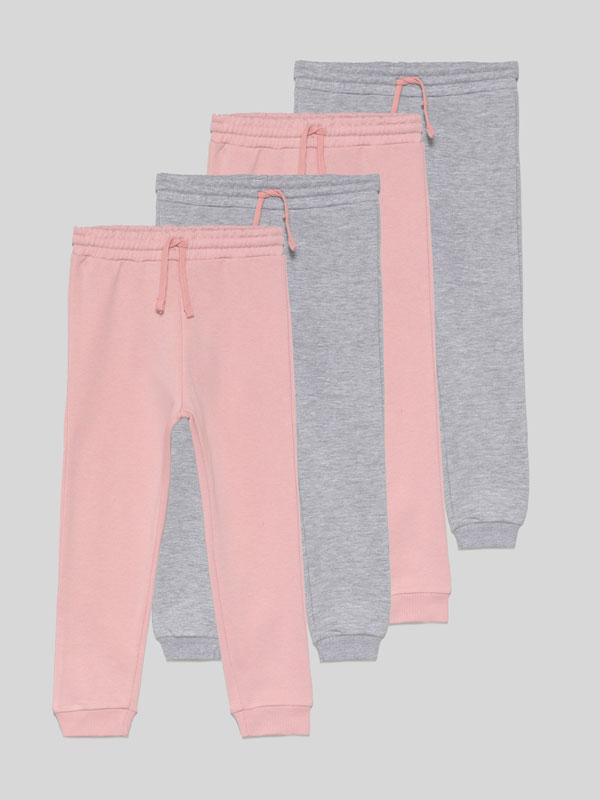 Pack de 4 pantalóns de felpa básicos